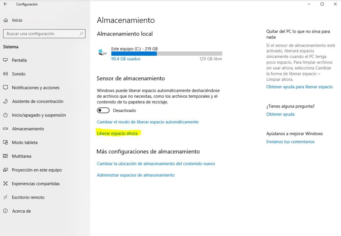 liberador espacio Windows 1