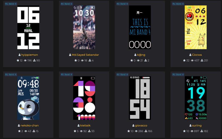 pantallas para smart band 4