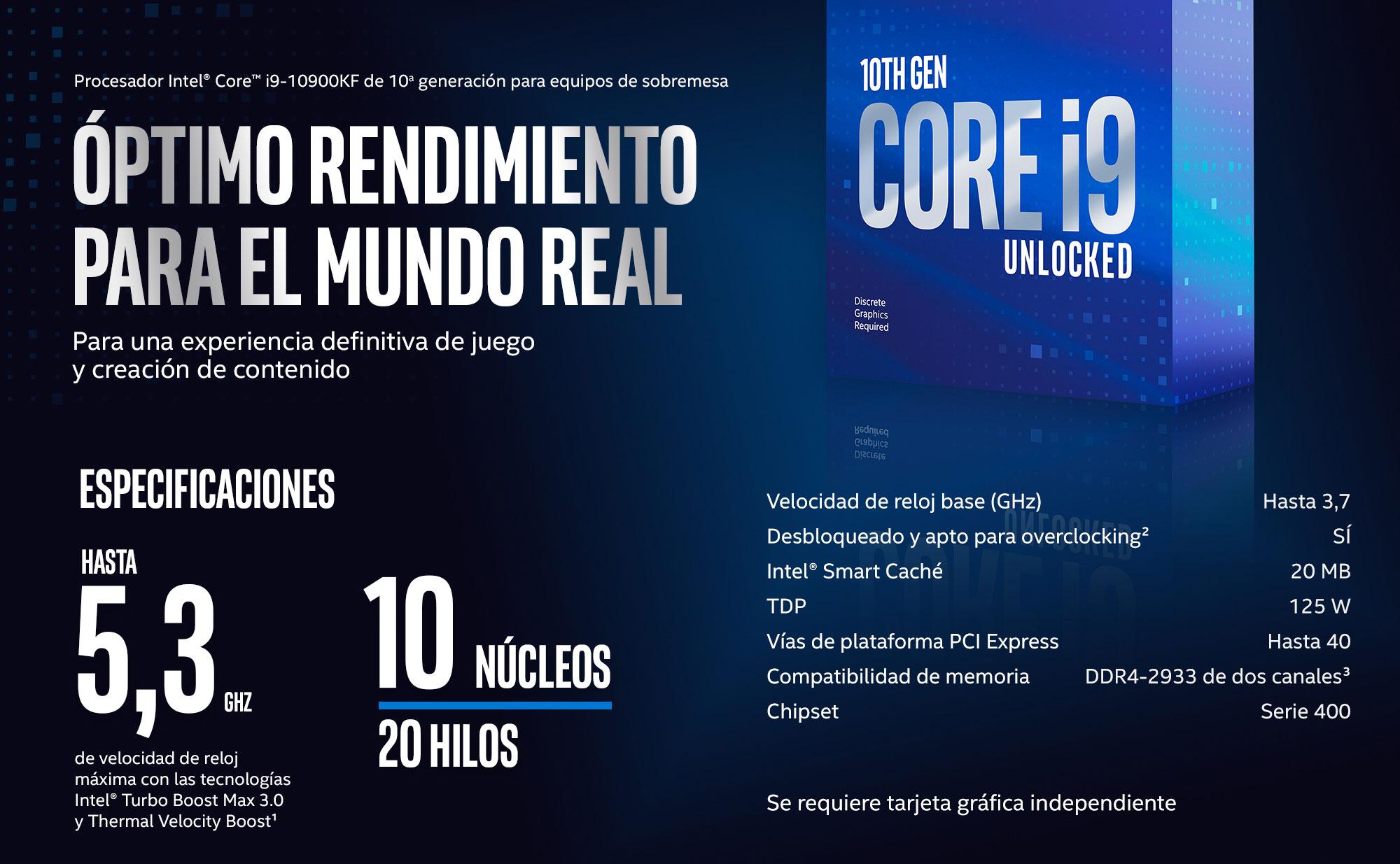 Procesador Intel® Core™ i9-10900KF de 10a generación para equipos de sobremesa