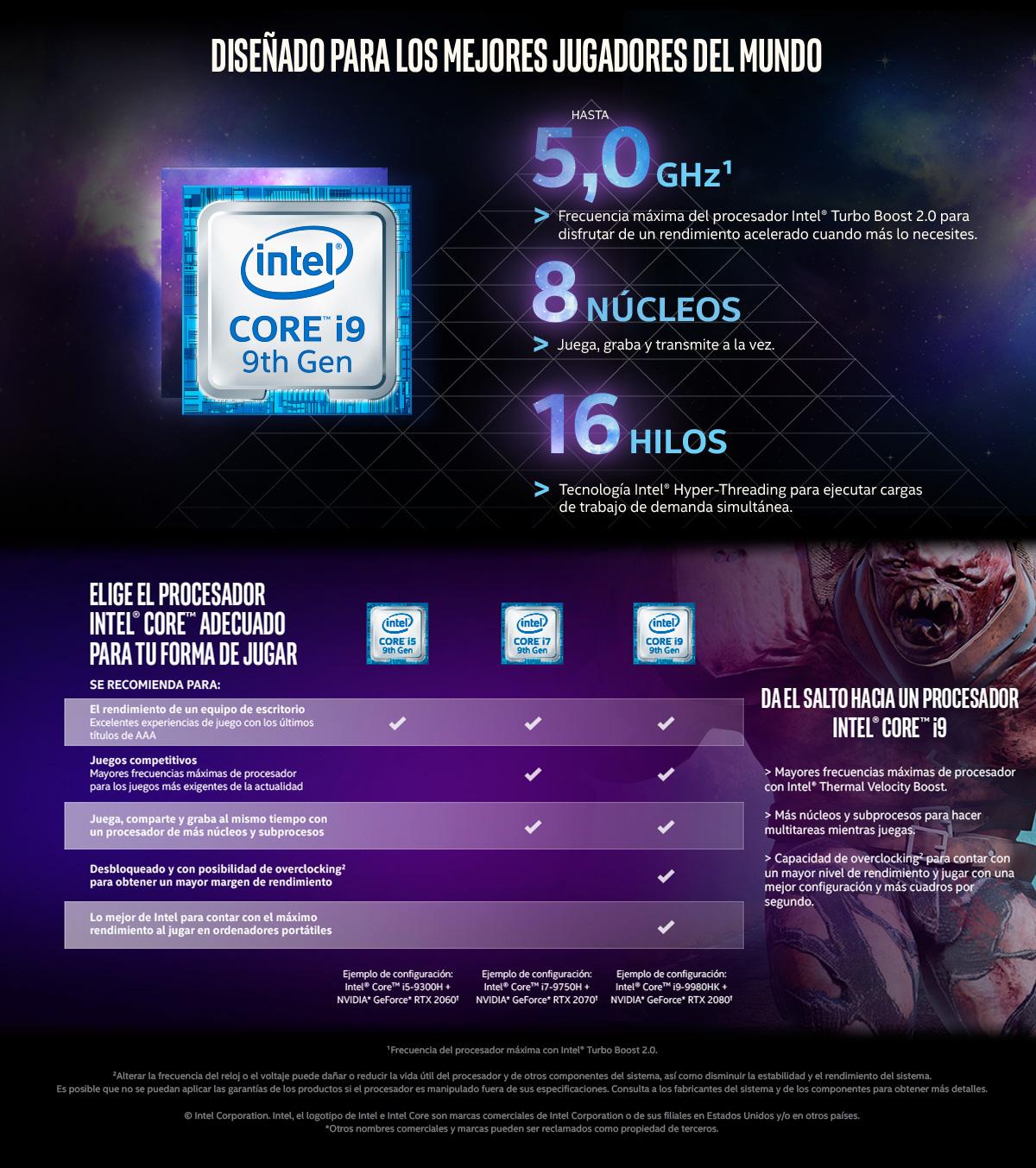 Juega como un profesional con Intel Core i9
