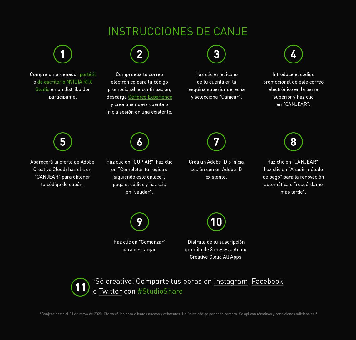 INSTRUCCIONES DE CANJE